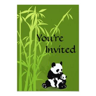 Ursos de panda e convite de bambu do chá de convite 12.7 x 17.78cm