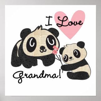 Ursos de panda eu amo a avó pôster