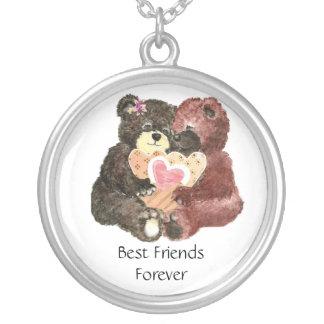 Ursos de ursinho bonitos, melhores amigos para sem colar banhado a prata