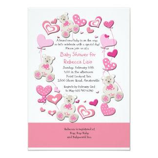 Ursos de ursinho & convite cor-de-rosa dos balões