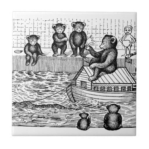Ursos de ursinho na banheira e em montar uma arca azulejo
