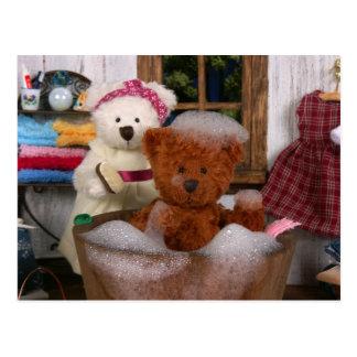 Ursos Dinky: Dia do banho Cartão Postal