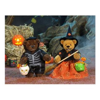 Ursos Dinky esqueleto & bruxa Cartão Postal