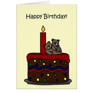 ursos do gêmeo da menino-menina no aniversário do cartão comemorativo