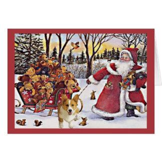 Ursos do papai noel do cartão de Natal do Corgi de
