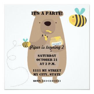 Ursos e abelhas convite quadrado 13.35 x 13.35cm