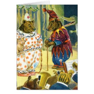 Ursos em uma representação histórica do Natal na t Cartões
