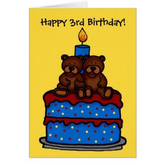 ursos gêmeos do menino no aniversário 3 do bolo cartoes