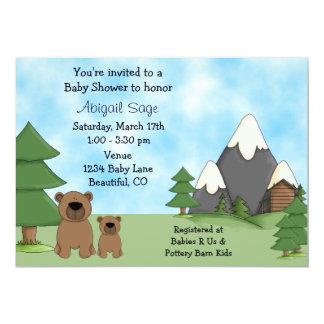 Ursos, montanhas e convites do chá de fraldas da convite 12.7 x 17.78cm