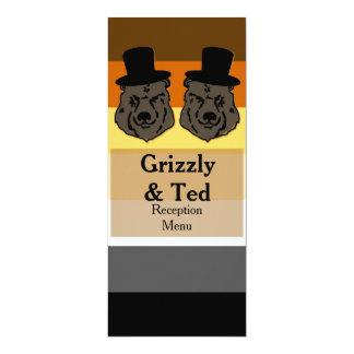 Ursos no cartão do menu da bandeira do urso para convite 10.16 x 23.49cm