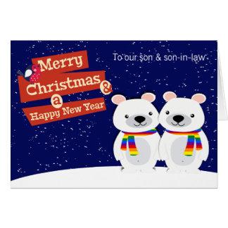 Ursos polares do Natal temático alegre Cartão Comemorativo