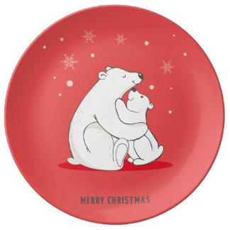 Ursos polares do Natal vermelho bonito Prato De Porcelana