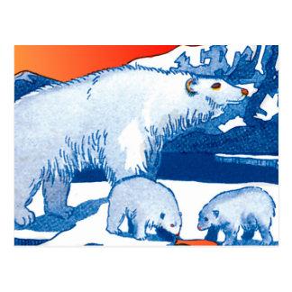 Ursos polares em azul e em vermelho cartão postal