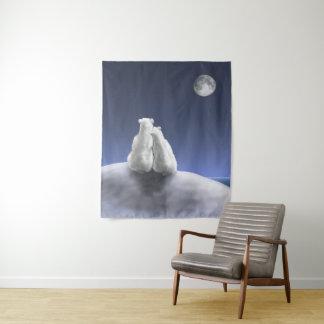 Ursos polares pela tapeçaria média da parede do