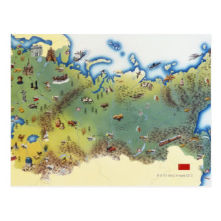 URSS, mapa da união do socialista soviético Cartao Postal