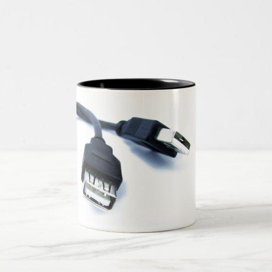 usb nerd mug caneca de café em dois tons
