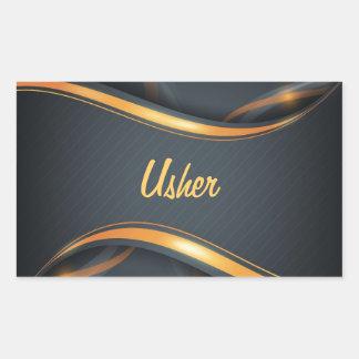 Usher (bl/gd) adesivo retangular