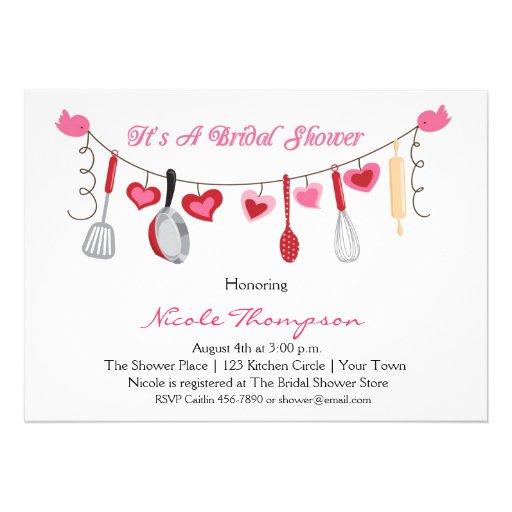Utensílios da cozinha, chá da festão do coração convite personalizados