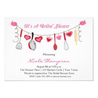 Utensílios da cozinha, chá da festão do coração convite 12.7 x 17.78cm