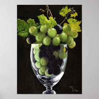 Uvas azuis e verdes poster