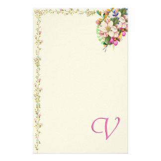 V buquê floral do monograma papelaria