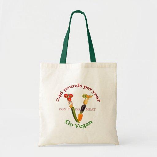 """""""V"""" com slogan do vegetariano Bolsas De Lona"""