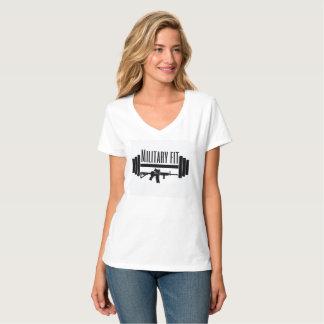 v-pescoço apto das forças armadas camiseta