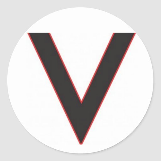 v são para a vitória adesivo redondo