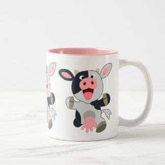Vaca alegre bonito dos desenhos animados caneca de café em dois tons