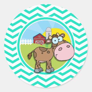 Vaca; Aqua Chevron verde Adesivo Redondo