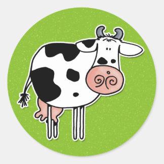 vaca adesivos redondos