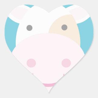 Vaca bonito adesivo coração