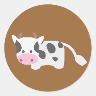 Vaca bonito & adorável adesivo em formato redondo
