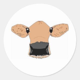 Vaca bonito adesivo redondo