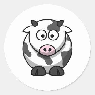 Vaca bonito adesivos em formato redondos
