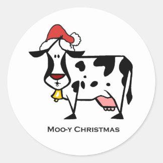 Vaca bonito do Natal Adesivo Redondo