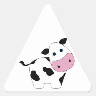 Vaca branca bonito adesivos em forma de triângulo