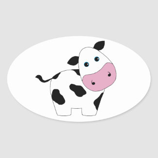 Vaca branca bonito adesivos ovais