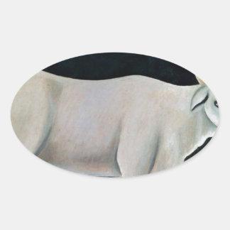 Vaca branca em um fundo preto por Niko Pirosmani Adesivo Oval