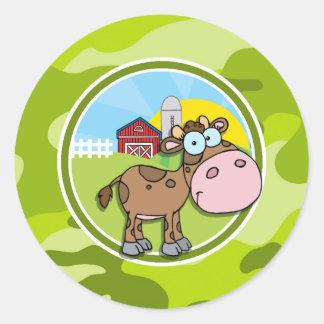 Vaca; camo verde-claro, camuflagem adesivos redondos