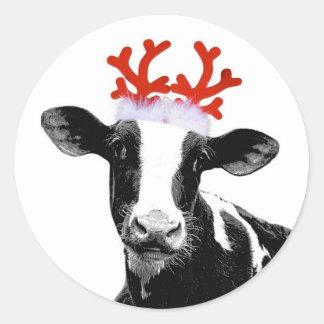 Vaca com Antlers da rena Adesivo Em Formato Redondo