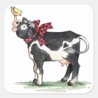 Vaca com arco - etiquetas adesivo quadrado