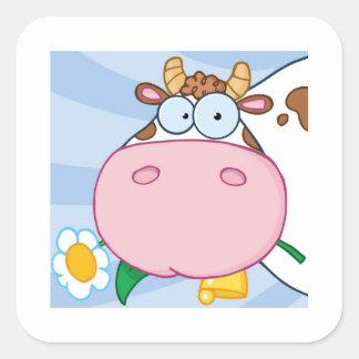 Vaca curiosa adesivo quadrado