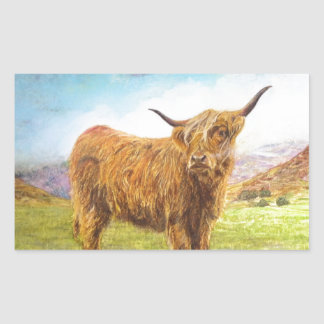 Vaca das montanhas adesivo retangular