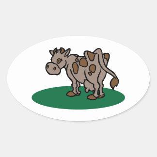 Vaca de Brown Adesivos Em Formato Oval