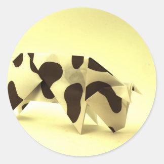 Vaca de Origami Adesivo Redondo