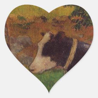 Vaca do ajoelhamento por Paul Gauguin Adesivo Coração