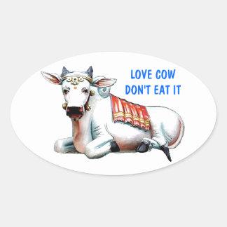 Vaca do amor adesivo oval