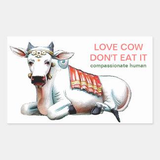 Vaca do amor adesivo retangular