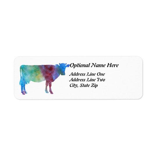 Vaca do arco-íris com texto customizável etiqueta endereço de retorno